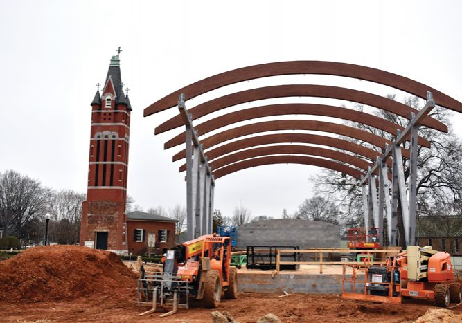 The tall ceiling and open sides on the stage will allow for performances and shows to be seen by spectators throughout the park. Ben Stansell/Salisbury Post